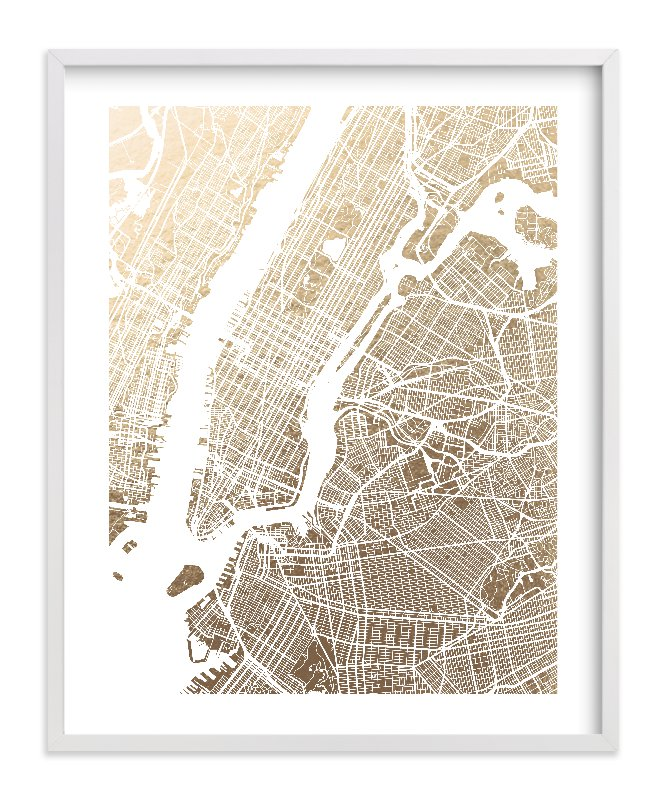 New York City Map Foil-Pressed Art Print