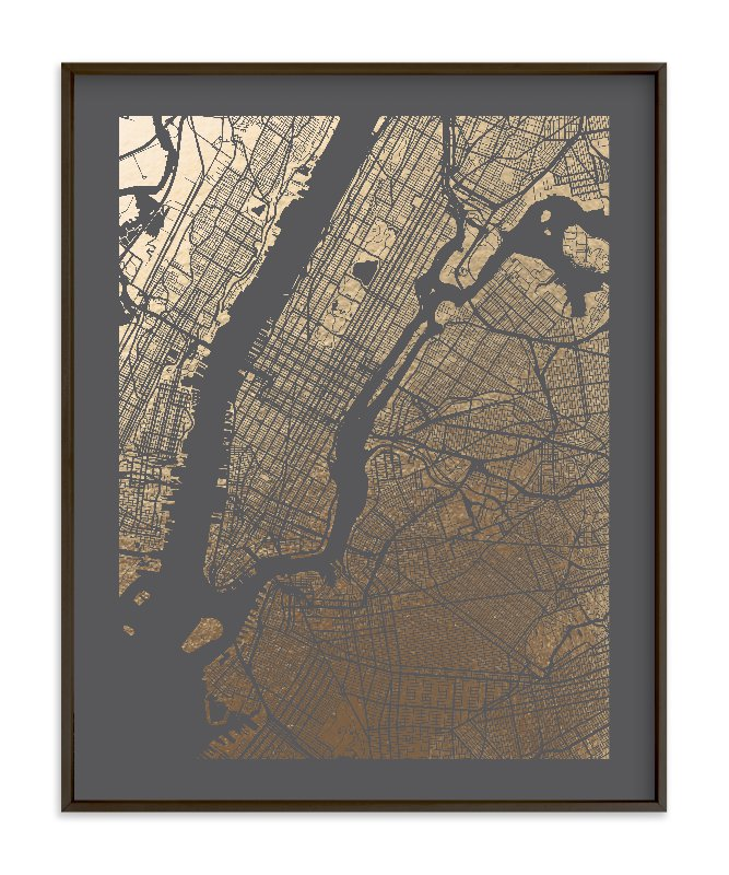 New York City Map Foil-Pressed Art Print