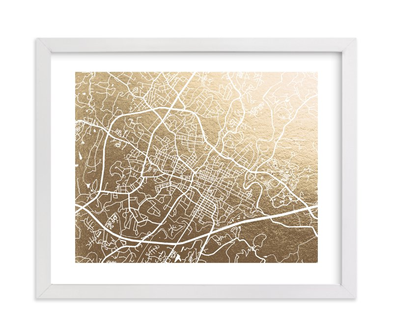 """Charlottesville Map"" - [non-custom] Foil-pressed Art Print by Laura Condouris in beautiful frame options and a variety of sizes."