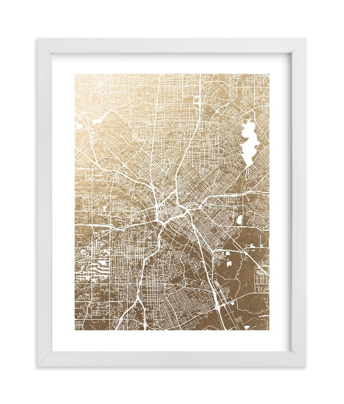 """Dallas Map"" - [non-custom] Foil-pressed Art Print by Alex Elko Design in beautiful frame options and a variety of sizes."