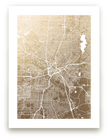 Dallas Map Foil-Pressed Wall Art