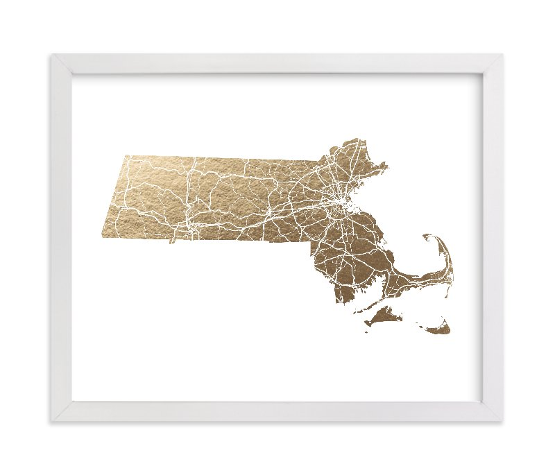 This is a gold foil stamped wall art by GeekInk Design called Massachusetts Map Filled with standard.