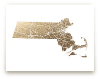 Massachusetts Map Filled Foil-Pressed Wall Art
