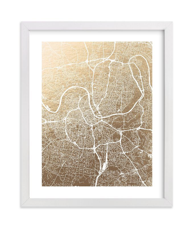 This is a gold foil stamped wall art by Alex Elko Design called Nashville Map.
