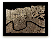 New Orleans Map Foil-Pressed Wall Art
