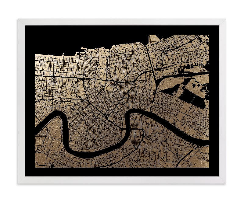 This is a black foil stamped wall art by Alex Elko Design called New Orleans Map.