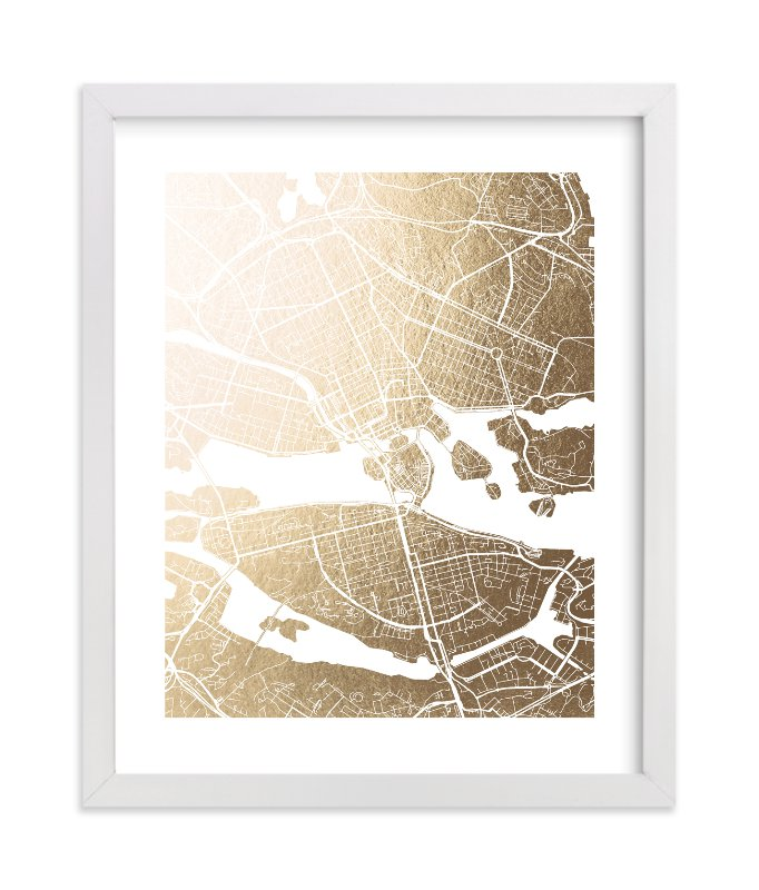 """Stockholm Map"" - [non-custom] Foil-pressed Art Print by Laura Condouris in beautiful frame options and a variety of sizes."