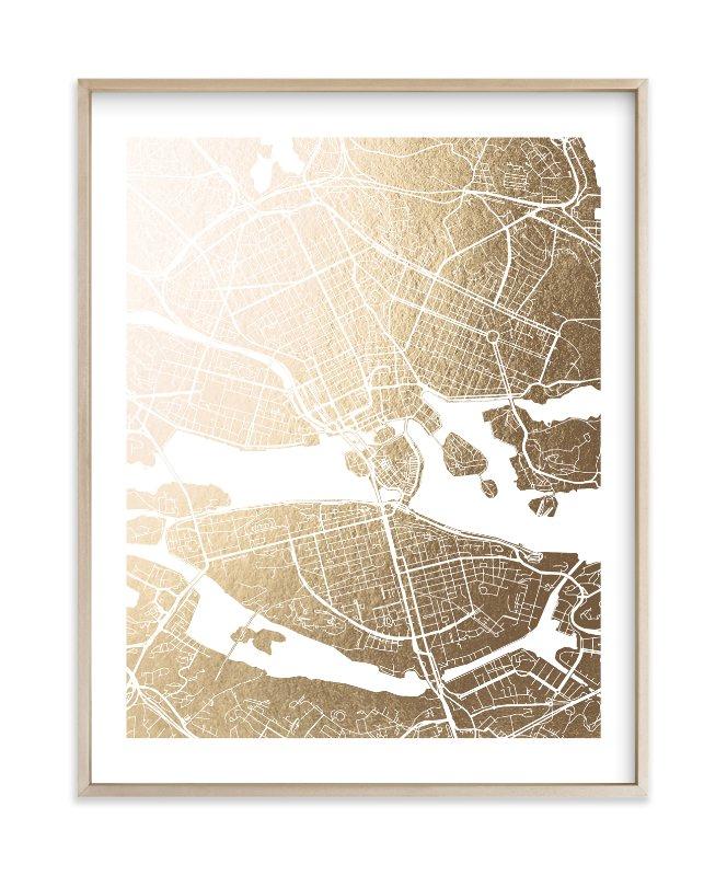 Stockholm Map Foil-Pressed Art Print