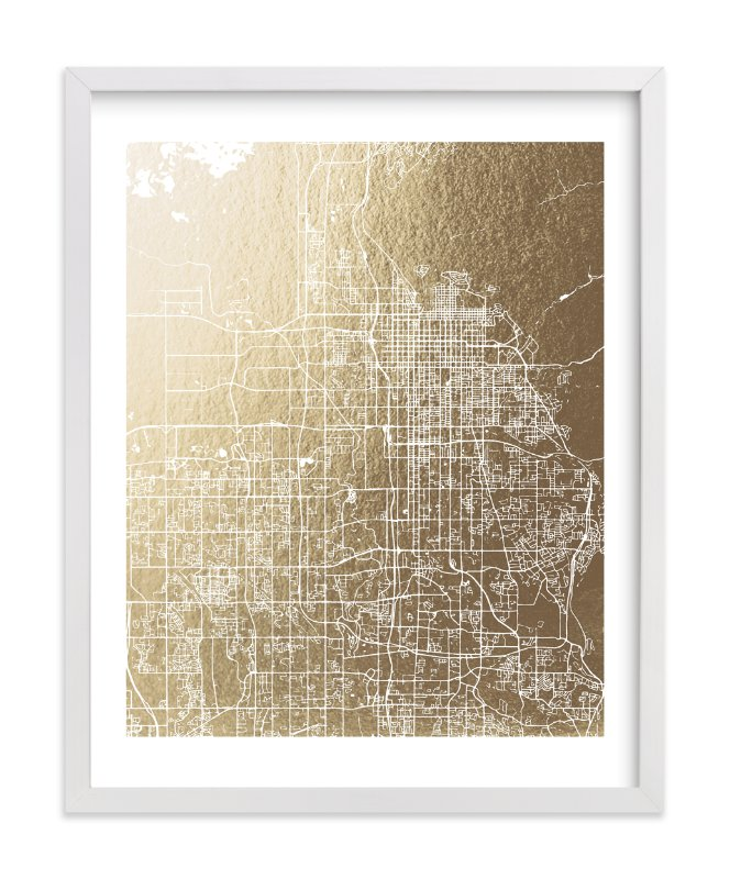 """Salt Lake City Map"" - [non-custom] Foil-pressed Art Print by Melissa Kelman in beautiful frame options and a variety of sizes."