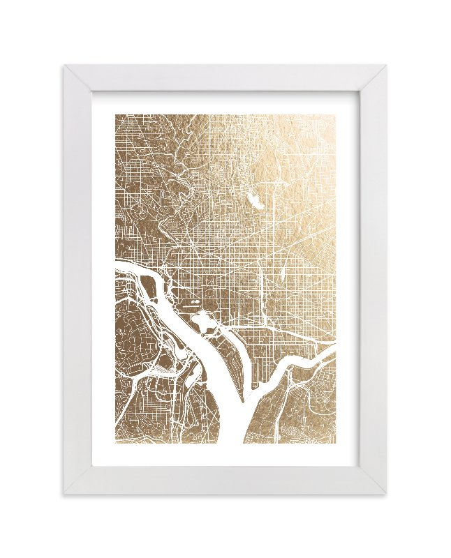 This is a white foil stamped wall art by Alex Elko Design called Washington D.C. Map.