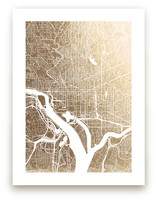 Washington D.C. Map Foil-Pressed Wall Art