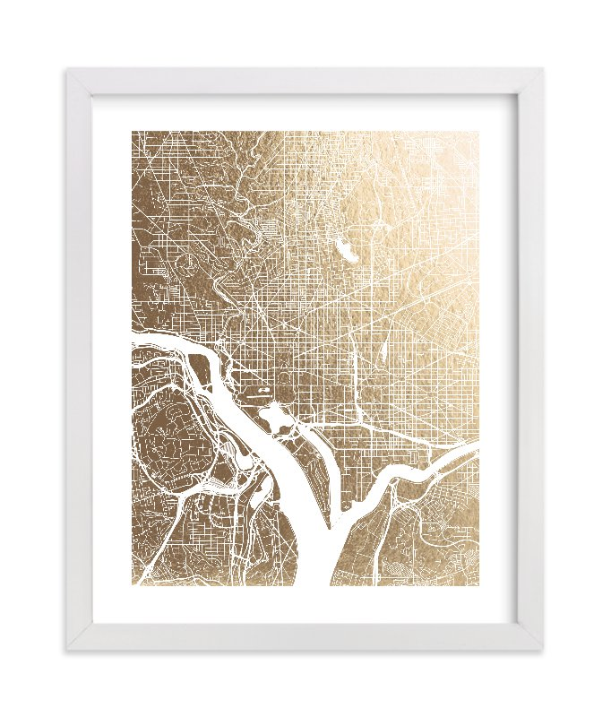 """Washington D.C. Map"" - [non-custom] Foil-pressed Art Print by Alex Elko Design in beautiful frame options and a variety of sizes."