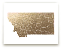 Montana Map Foil-Pressed Wall Art