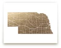 Nebraska Map Foil-Pressed Wall Art
