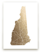 New Hampshire Map Foil-Pressed Wall Art