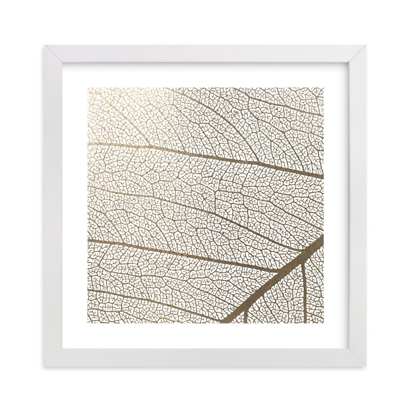 """Leaf"" - [non-custom] Foil-pressed Art Print by Stellax Creative in beautiful frame options and a variety of sizes."