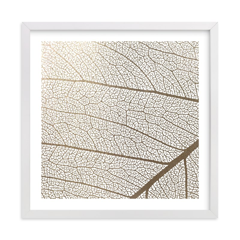"""""""Leaf"""" - Foil-pressed Art Print by Stellax Creative in beautiful frame options and a variety of sizes."""