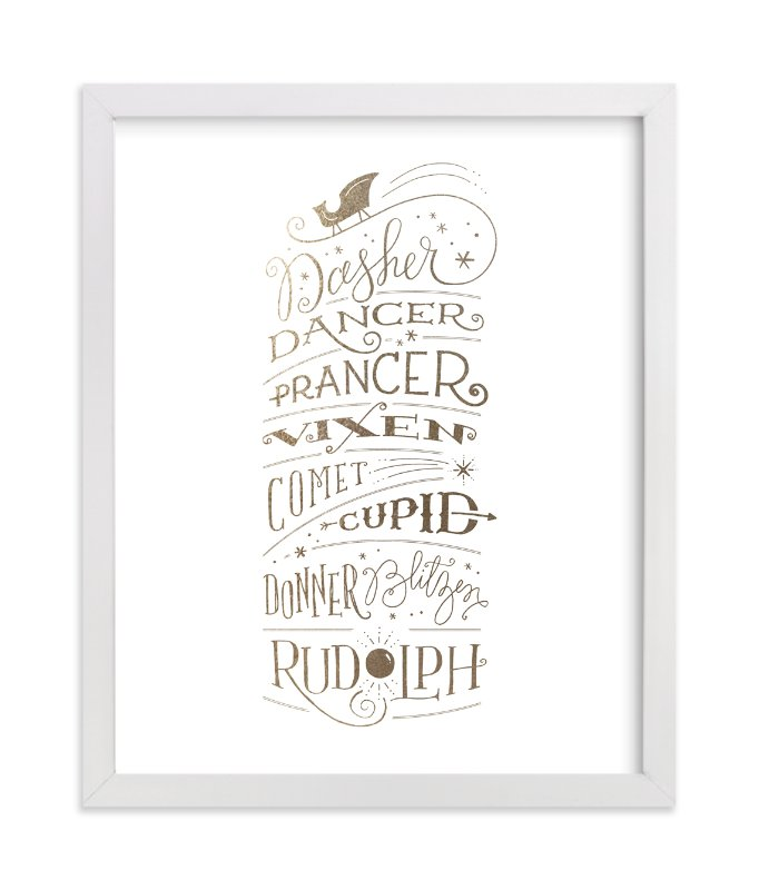 """""""Reindeer Names"""" - [non-custom] Foil-pressed Art Print by Jennifer Wick in beautiful frame options and a variety of sizes."""