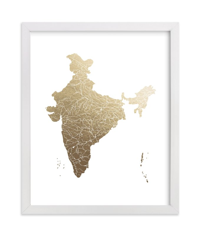 """""""India Map"""" - [non-custom] Foil-pressed Art Print by Jorey Hurley in beautiful frame options and a variety of sizes."""