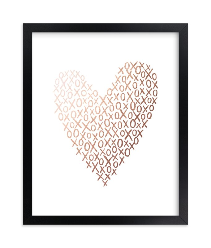 """""""Hugs And Kisses Heart"""" - Foil-pressed Art Print by Hooray Creative in beautiful frame options and a variety of sizes."""