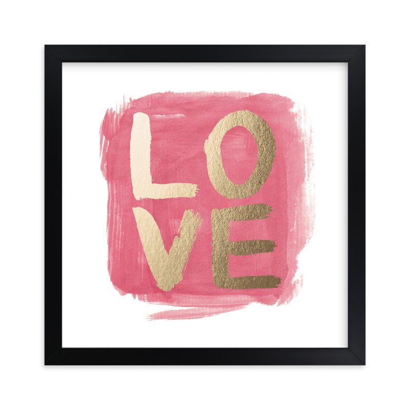 """""""Love In Brush"""" - Foil-pressed Art Print by Qing Ji in beautiful frame options and a variety of sizes."""