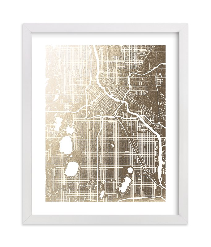 This is a gold foil stamped wall art by Yours Madly called Minneapolis Map with standard.