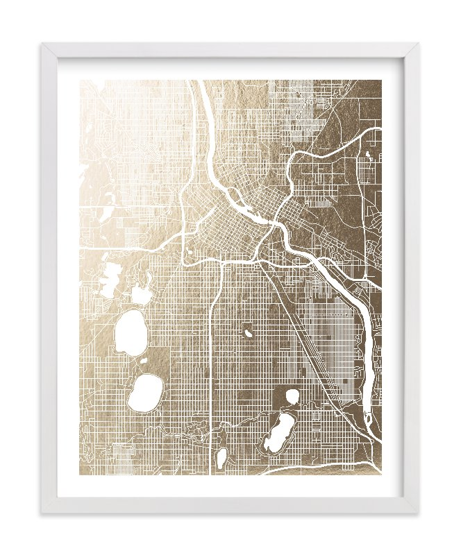 This is a gold foil stamped wall art by Yours Madly called Minneapolis Map.