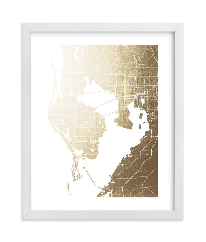 """Tampa Map"" - [non-custom] Foil-pressed Art Print by Laura Condouris in beautiful frame options and a variety of sizes."