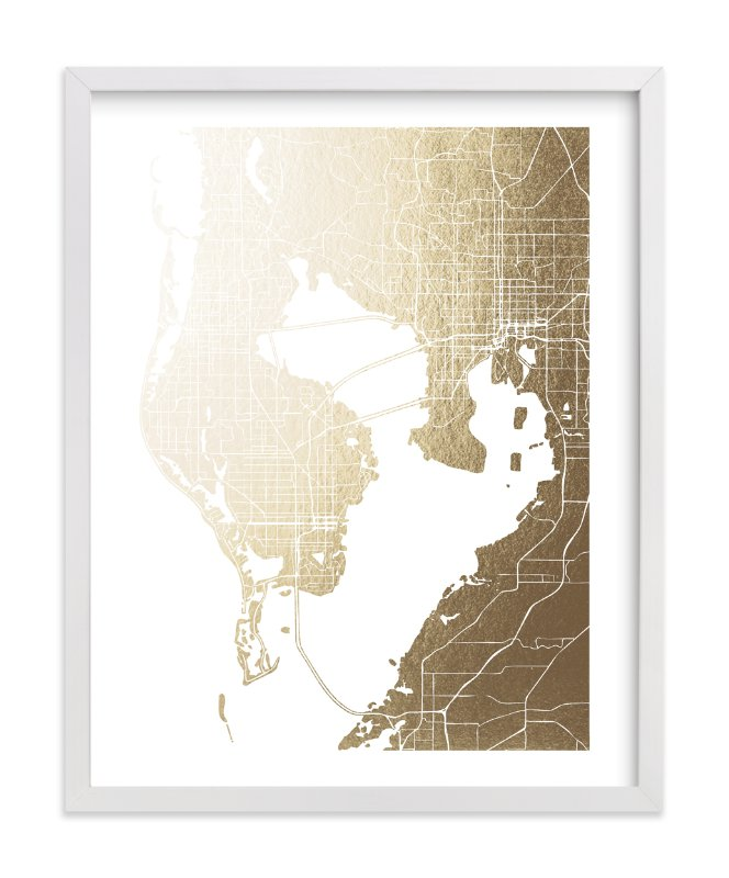 This is a gold foil stamped wall art by Laura Condouris called Tampa Map.