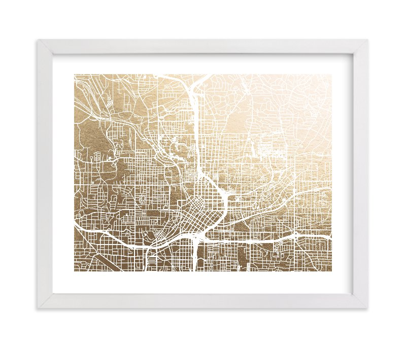 """Atlanta Map"" - [non-custom] Foil-pressed Art Print by Alex Elko Design in beautiful frame options and a variety of sizes."