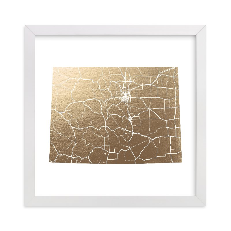 """Colorado Map"" - Foil-pressed Art Print by GeekInk Design in beautiful frame options and a variety of sizes."