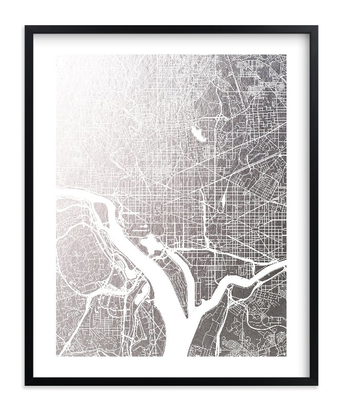 Washington D.C. Map Foil-Pressed Art Print