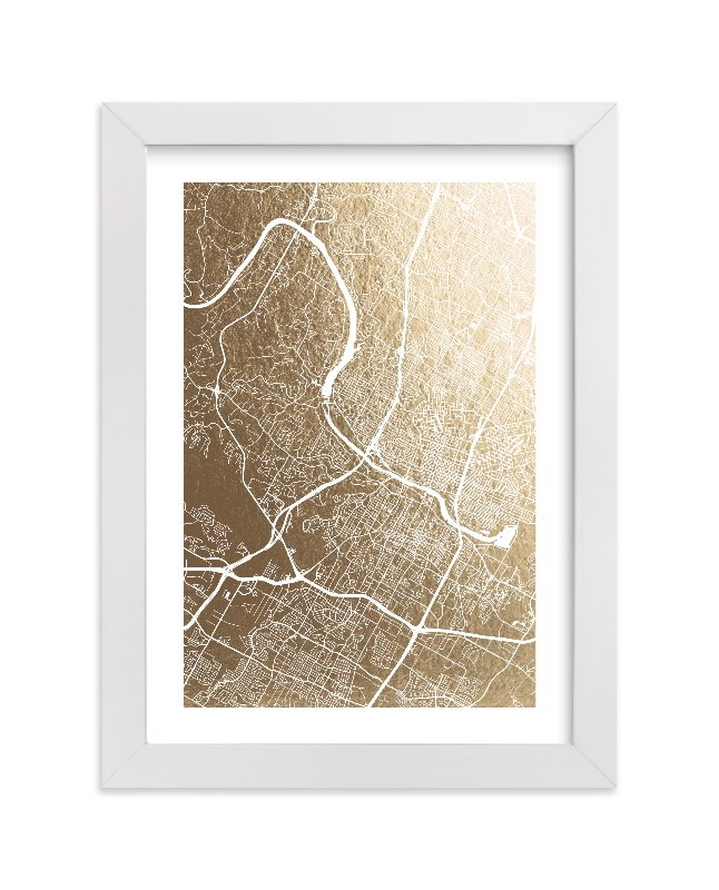 """Austin Map"" - Foil-pressed Art Print by Alex Elko Design in beautiful frame options and a variety of sizes."