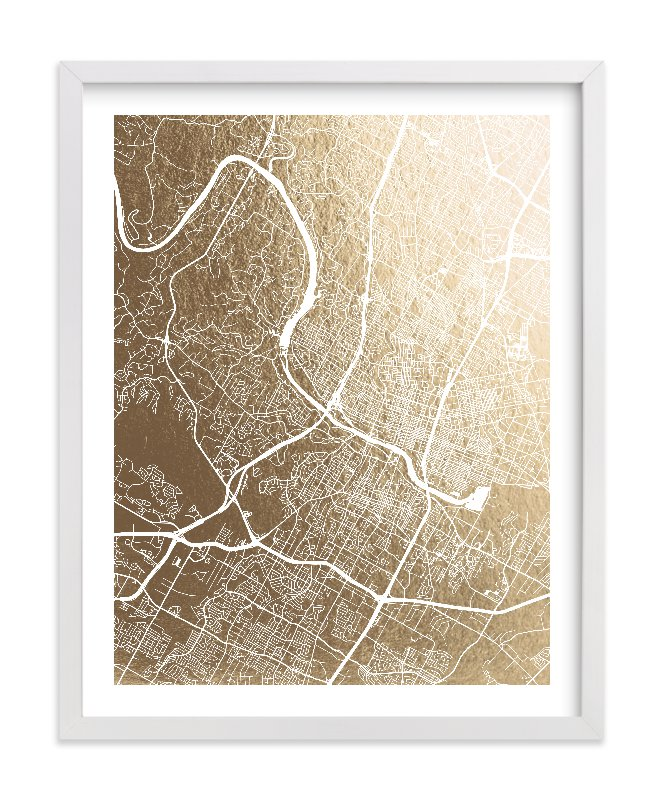 """""""Austin Map"""" - [non-custom] Foil-pressed Art Print by Alex Elko Design in beautiful frame options and a variety of sizes."""
