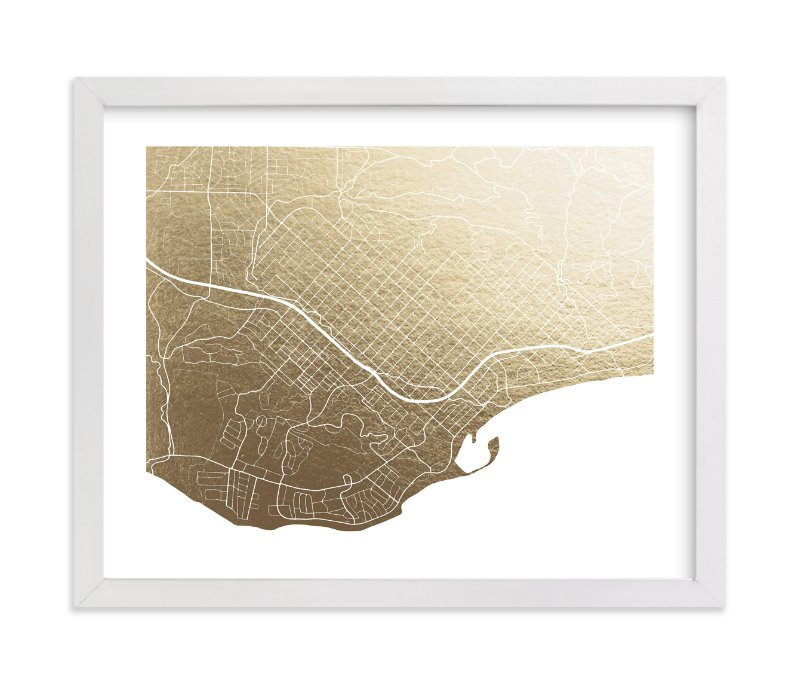"""Santa Barbara Map"" - [non-custom] Foil-pressed Art Print by Griffinbell Paper Co. in beautiful frame options and a variety of sizes."