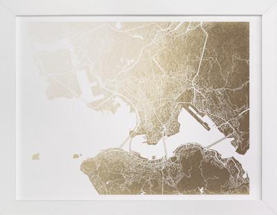 Hong Kong Map Foil-Pressed Art Print