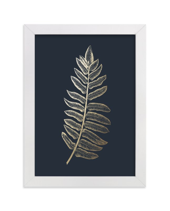This is a blue foil stamped wall art by annie clark called Leaf Study 1 with standard.