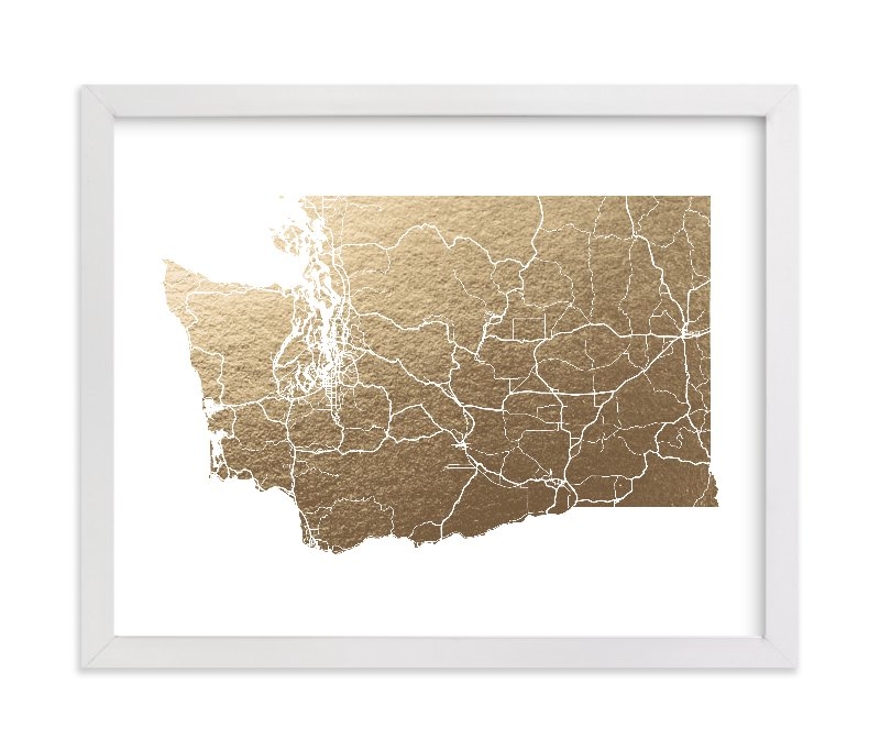 """""""Washington Map- Filled"""" - Foil-pressed Art Print by GeekInk Design in beautiful frame options and a variety of sizes."""