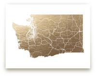 Washington Map- Filled Foil-Pressed Wall Art