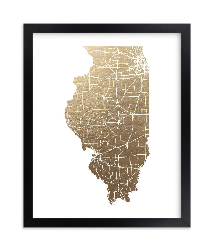 """""""Illinois Map - Filled"""" - Foil-pressed Art Print by GeekInk Design in beautiful frame options and a variety of sizes."""