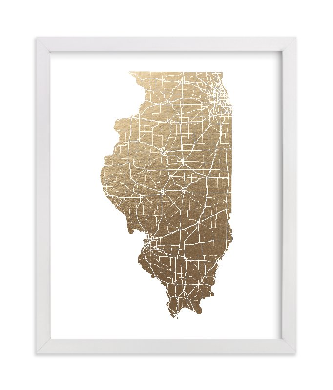This is a gold foil stamped wall art by GeekInk Design called Illinois Map - Filled.