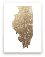 Illinois Map - Filled Foil-Pressed Wall Art