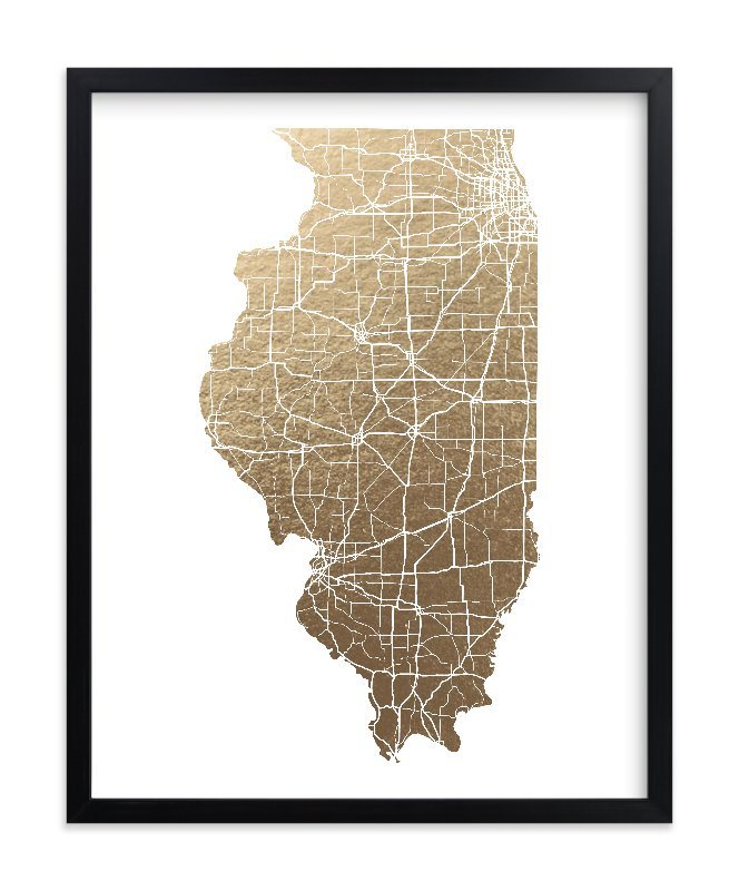 """Illinois Map - Filled"" - [non-custom] Foil-pressed Art Print by GeekInk Design in beautiful frame options and a variety of sizes."