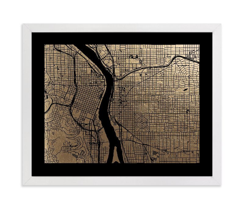 """Portland Map"" - [non-custom] Foil-pressed Art Print by Alex Elko Design in beautiful frame options and a variety of sizes."