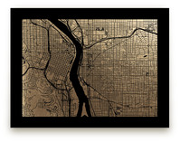 Portland Map Foil-Pressed Wall Art