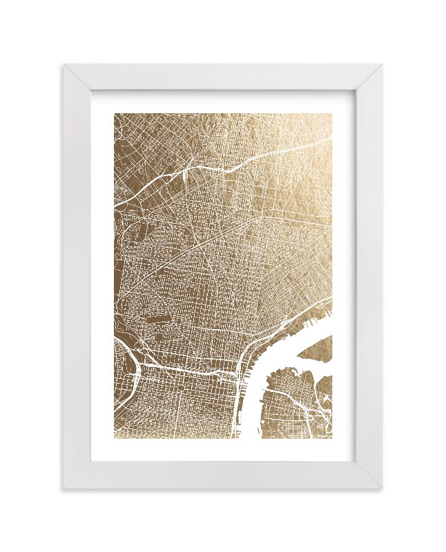 This is a white foil stamped wall art by Alex Elko Design called Philadelphia Map with standard.
