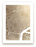 Philadelphia Map Foil-Pressed Wall Art