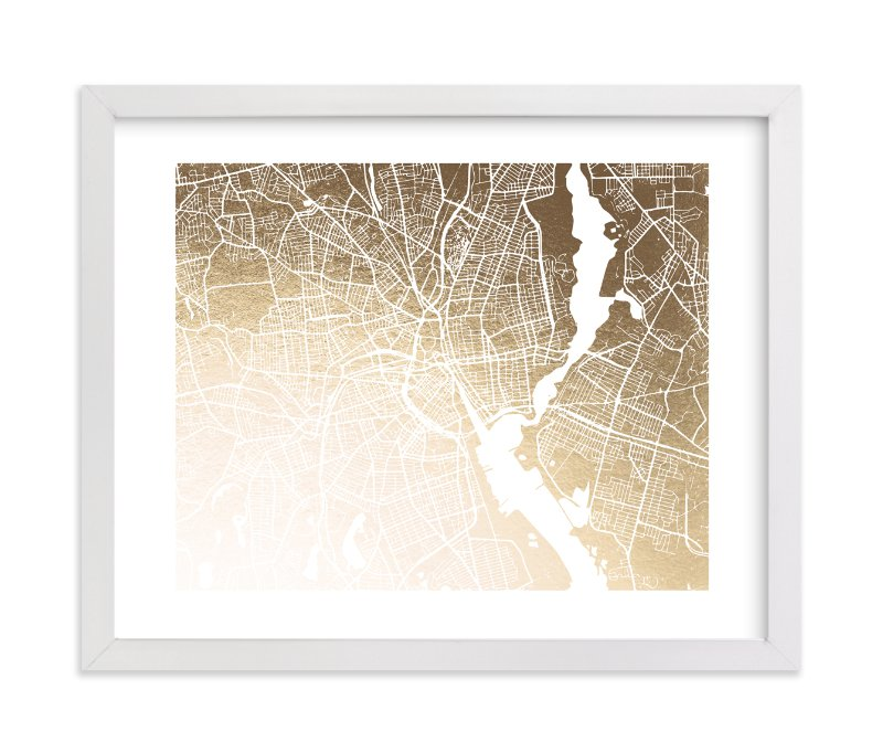 """""""Providence Map"""" - [non-custom] Foil-pressed Art Print by Melissa Kelman in beautiful frame options and a variety of sizes."""