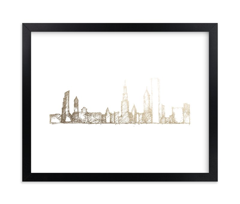 """Chicago Skyline"" - [non-custom] Foil-pressed Art Print by Phrosne Ras in beautiful frame options and a variety of sizes."
