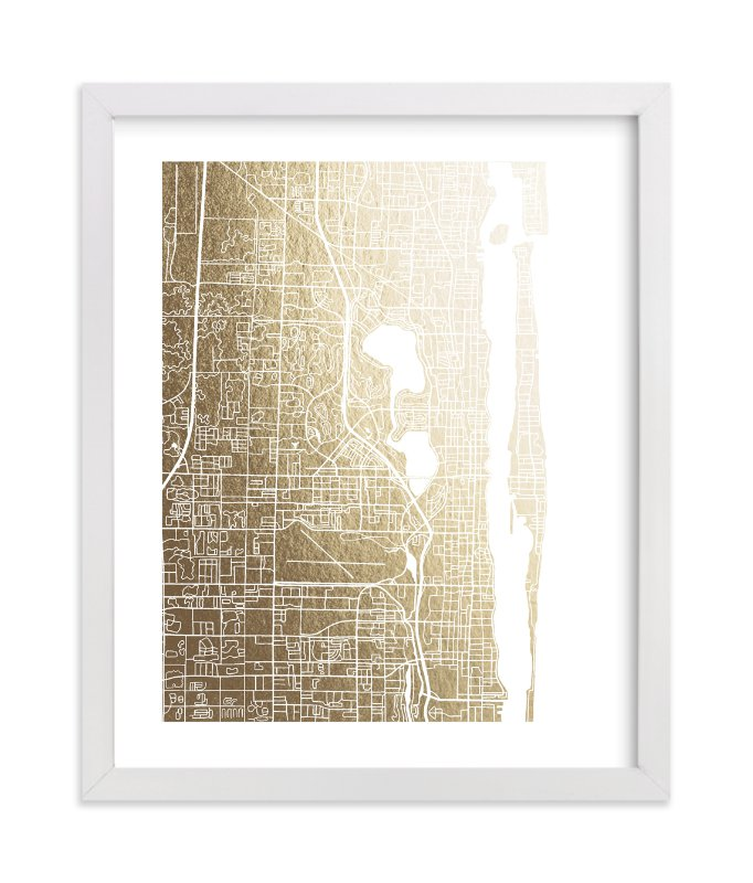 """West Palm Beach Map"" - [non-custom] Foil-pressed Art Print by Griffinbell Paper Co. in beautiful frame options and a variety of sizes."